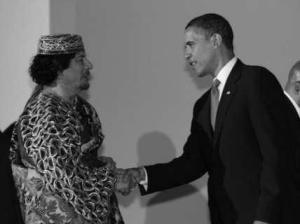 Obama and Ghadafi