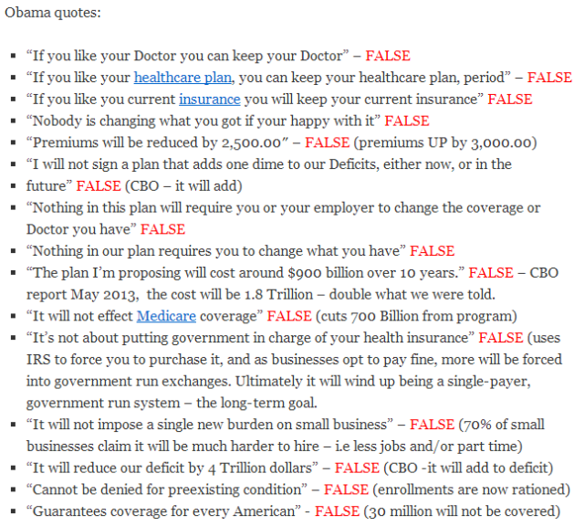 Obama ACA lies