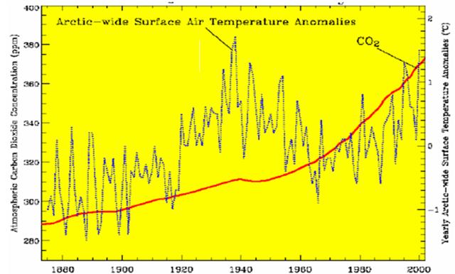 arctic surface air temp anolalies
