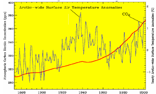 arctic surface air temp anolalies